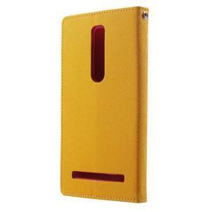 Zapínacie PU kožené puzdro na Asus Zenfone 2 ZE551ML - žlté - 2