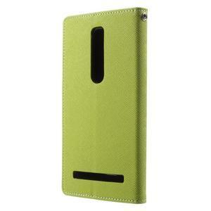 Zapínacie PU kožené puzdro na Asus Zenfone 2 ZE551ML - zelené - 2