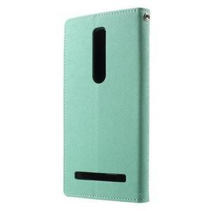 Zapínacie PU kožené puzdro na Asus Zenfone 2 ZE551ML - azúrové - 2
