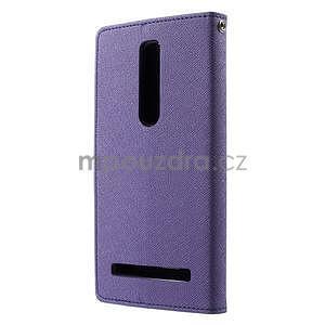 Zapínacie PU kožené puzdro na Asus Zenfone 2 ZE551ML -  fialové - 2