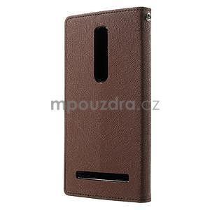 Zapínacie PU kožené puzdro pre Asus Zenfone 2 ZE551ML - hnedé - 2