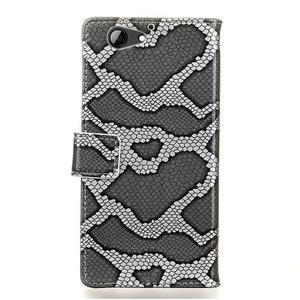 SnakeŠtýle PU kožené peňaženkové puzdro pre HTC One A9s - sivé - 2