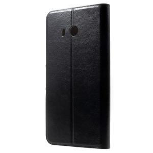 Horse PU kožené zapínacie puzdro na HTC U11 - čierne - 2