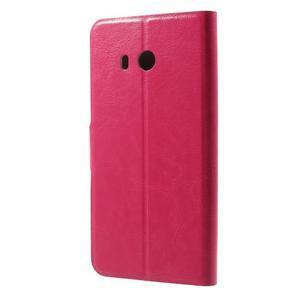 Horse PU kožené zapínacie puzdro na HTC U11 - rose - 2