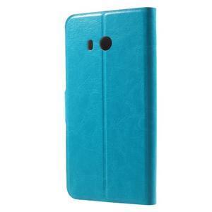 Horse PU kožené zapínacie puzdro na HTC U11 - modré - 2