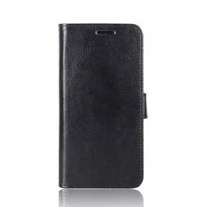 Crazy PU kožené peňaženkové puzdro na mobil HTC U11 - čierne - 2