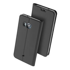 DUX PU kožené klopové puzdro na HTC U11 - šedé - 2