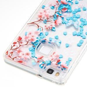 Glitter presýpací gélový obal na mobil Huawei P9 Lite - kvetiny - 2