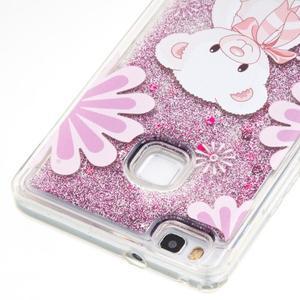 Glitter presýpací gélový obal na mobil Huawei P9 Lite - medvedík - 2