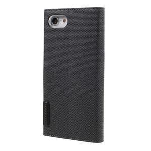 Fashions textilné peňaženkové puzdro pre iPhone 7 a iPhone 8 - čierne - 2
