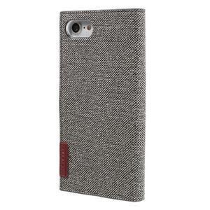 Fashions textilné peňaženkové puzdro pre iPhone 7 a iPhone 8 - sivé - 2