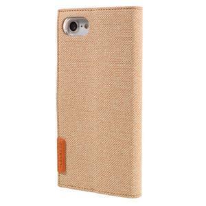 Fashions textilné peňaženkové puzdro pre iPhone 7 a iPhone 8 - oranžové - 2