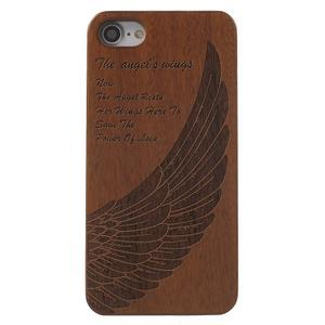 Woody drevený obal s plastovým držaním na iPhone 8 a iPhone 7 - anjelské kridlo - 2