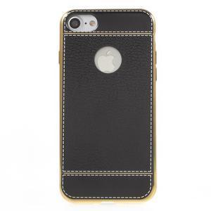 Luxusný gélový obal s PU koženým chrbtom na iPhone 8 a iPhone 7 - čierne - 2