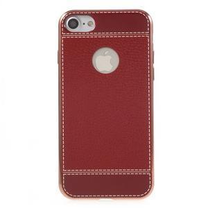 Luxusný gélový obal s PU koženým chrbtom na iPhone 8 a iPhone 7 - červené - 2