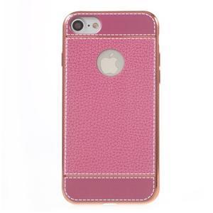 Luxusný gélový obal s PU koženým chrbtom na iPhone 8 a iPhone 7 - ružové - 2