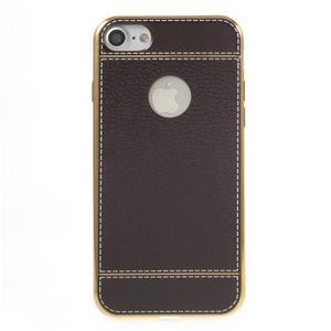 Luxusný gélový obal s PU koženým chrbtom na iPhone 8 a iPhone 7 - tmavehnedé - 2