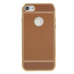 Luxusný gélový obal s PU koženým chrbtom na iPhone 8 a iPhone 7 - hnedé - 2
