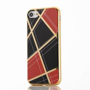 Geometric plastový obal so zlatými lemami na iPhone 8 a iPhone 7 - červené - 2
