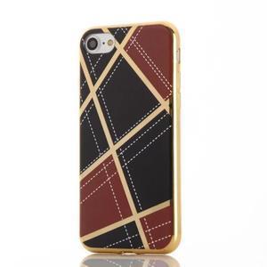 Geometric plastový obal so zlatými lemami na iPhone 8 a iPhone 7 - vínové - 2