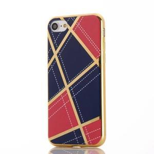 Geometric plastový obal so zlatými lemami na iPhone 8 a iPhone 7 - rose/tmavomodré - 2