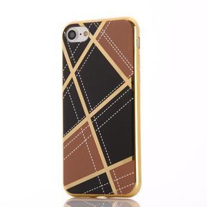 Geometric plastový obal so zlatými lemami na iPhone 8 a iPhone 7 - hnedé - 2