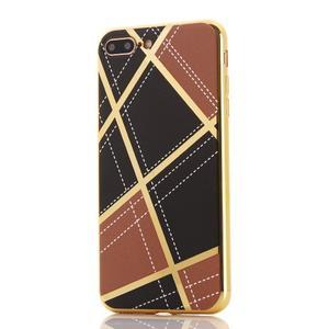 GeometricStyle plastový obal so zlatými lemami na iPhone 8 Plus a iPhone 7 Plus - hnedý - 2