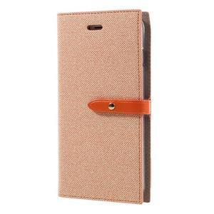Fashions textilné peňaženkové puzdro pre iPhone 7 Plus a iPhone 8 Plus - oranžové - 2