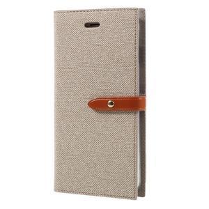 Fashions textilné peňaženkové puzdro pre iPhone 7 Plus a iPhone 8 Plus - khaki - 2