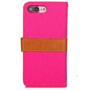 TexaCloth PU kožené/textilné puzdro pre iPhone 7 Plus a iPhone 8 Plus - rose - 2