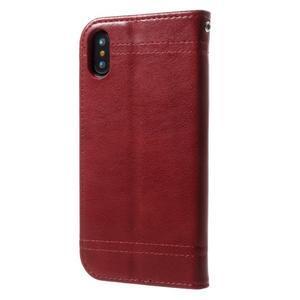 Retro style PU kožené puzdro na mobil iPhone X - červené - 2