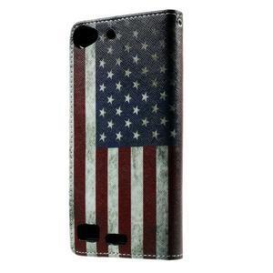 Peňaženkové PU kožené puzdro Lenovo Vibe X2 - USA vlajka - 2