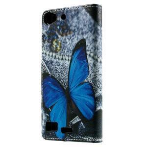 Peňaženkové PU kožené puzdro Lenovo Vibe X2 - Modrý motýľ - 2