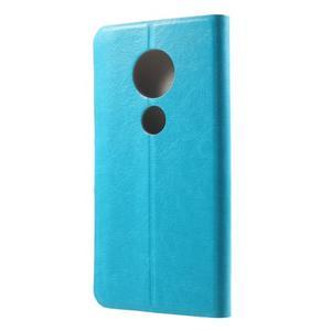 Horse PU kožené puzdro na mobil Motorola Moto G6 Play - modré - 2