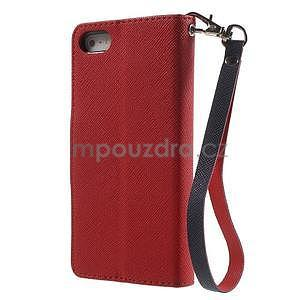 Dvojfarebné peňaženkové puzdro na iPhone 5 a 5s - červené/tmavomodre - 2