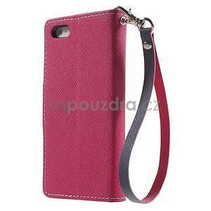 Dvojfarebné peňaženkové puzdro na iPhone 5 a 5s - rose/ tmavomodré - 2