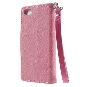 Dvojfarebné peňaženkové puzdro pre iPhone 5 a 5s - ružové/rose - 2