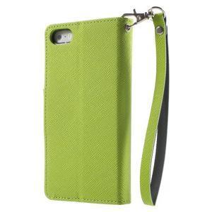 Dvojfarebné peňaženkové puzdro na iPhone 5 a 5s - zelené/ tmavomodré - 2