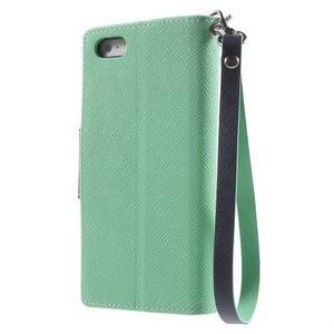 Dvojfarebné peňaženkové puzdro na iPhone 5 a 5s - azurové/ tmavomodré - 2