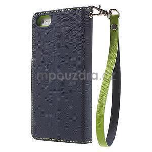 Dvojfarebné peňaženkové puzdro na iPhone 5 a 5s - tmavomodre/zelené - 2