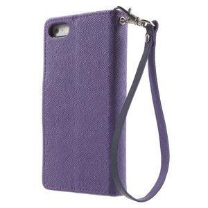 Dvojfarebné peňaženkové puzdro na iPhone 5 a 5s - fialové/tmavomodré - 2