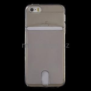 Ultra tenký obal s vreckom pre iPhone 5 a 5s - šedý - 2