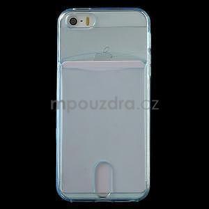 Ultra tenký obal s vreckom pre iPhone 5 a 5s - modrý - 2