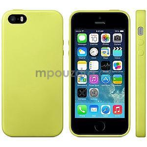 Gélový obal s textúrou na iPhone 5 a 5s - žltozelený - 2