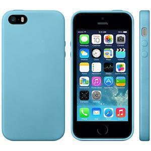 Gélový obal s textúrou na iPhone 5 a 5s - modrý - 2