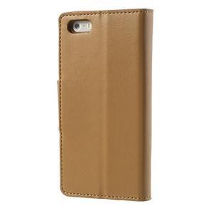Peňaženkové koženkové puzdro pre iPhone 5s a iPhone 5 - coffee - 2