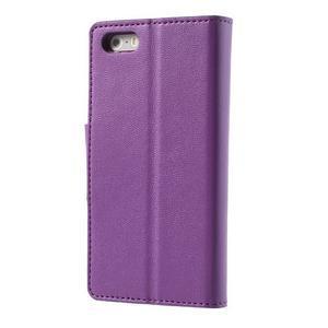 Peňaženkové koženkové puzdro pre iPhone 5s a iPhone 5 - fialové - 2