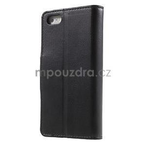 Peňaženkové koženkové puzdro na iPhone 5 a iPhone 5s - čierne - 2