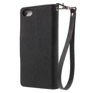 Dvojfarebné peňaženkové puzdro na iPhone 5 a 5s - čierne/čierne - 2