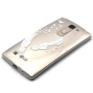 Priehľadný gélový obal pre LG G4c - vtáčie pierka - 2